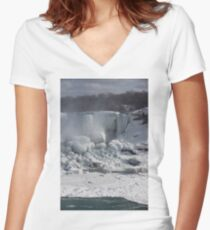 Niagara Falls Ice Buildup - American Falls, New York State, USA Women's Fitted V-Neck T-Shirt