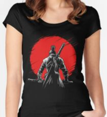 One-armed Wolf red sun 2 Fitted Scoop T-Shirt