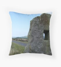 Holey rock, watching - North Yorkshire Moors Throw Pillow