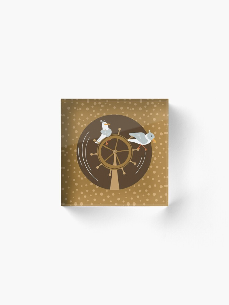 Alternate view of Funny seagulls changing sailor's course Acrylic Block