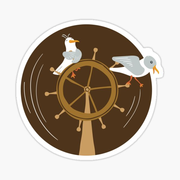 Funny seagulls changing sailor's course Sticker