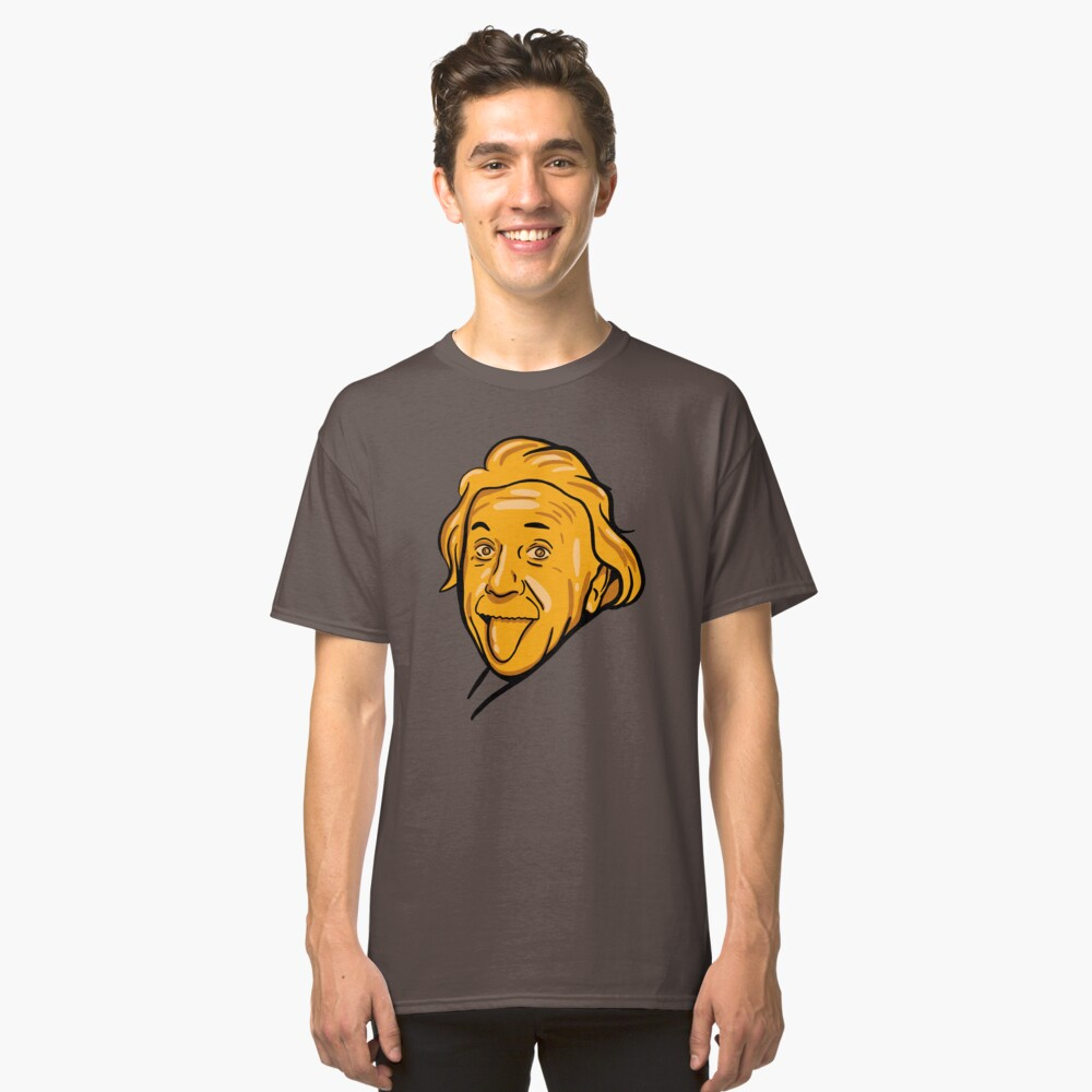 Albert Einstein Portrait in Golden Aesthetic, for Physics and Science Fans Classic T-Shirt