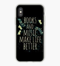 Vinilo o funda para iPhone los libros y la música mejoran la vida # 1