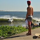 Surf Watcher 2 - Nobby's Breakwall, Newcastle NSW by Phil Woodman