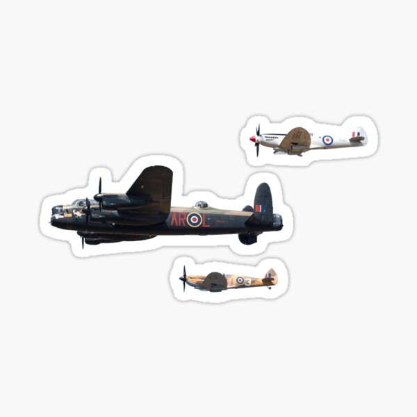 Military Aircraft Stickers - Lancaster Bomber and Supermarine Spitfire Sticker