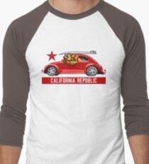 California Republic Surfing Bear (vintage distressed look) Men's Baseball ¾ T-Shirt