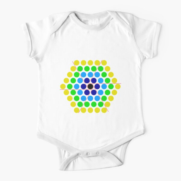 Mathematics, Dissection of hexagonal number into six triangles with a remainder of one. The triangles can be re-assembled pairwise to give three parallelograms of n x (n−1) dots. Short Sleeve Baby One-Piece