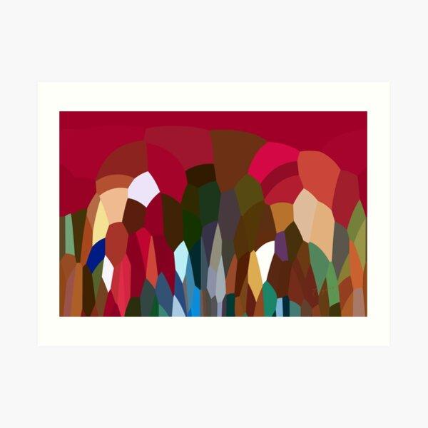 Abstract Digital Landscape Red Tones Art Print