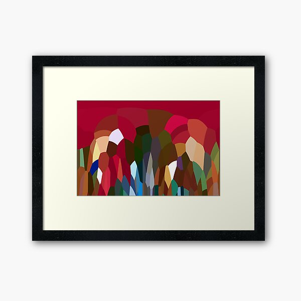 Abstract Digital Landscape Red Tones Framed Art Print