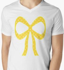 Yellow & White Polka Dots Men's V-Neck T-Shirt