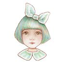 cute girl with bow by trudette