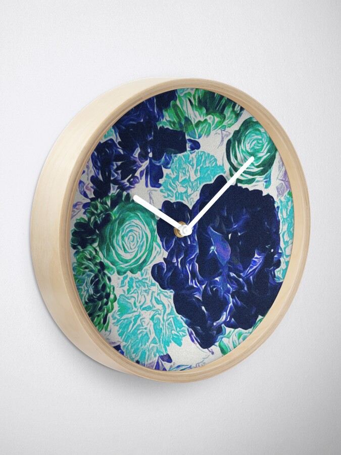 Alternate view of Bouquet in Blue - Floral Art - Flower Lovers Gift Clock