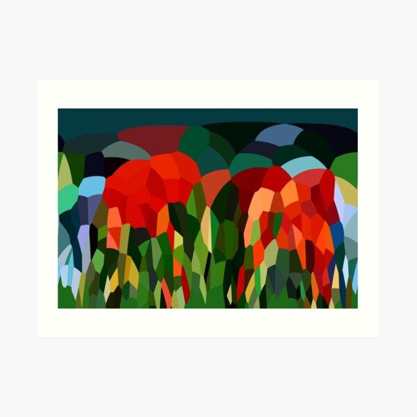Abstract Digital Landscape Red Green Tones Art Print