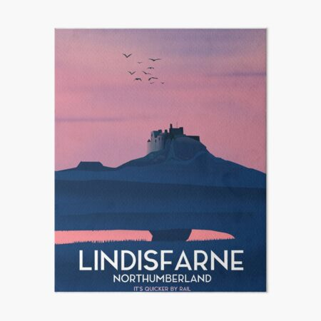 Lindisfarne Northumberland travel poster. Art Board Print