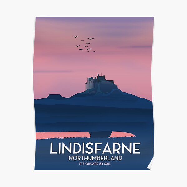 Lindisfarne Northumberland travel poster. Poster