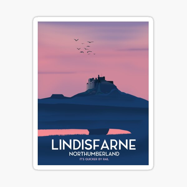 Lindisfarne Northumberland travel poster. Sticker