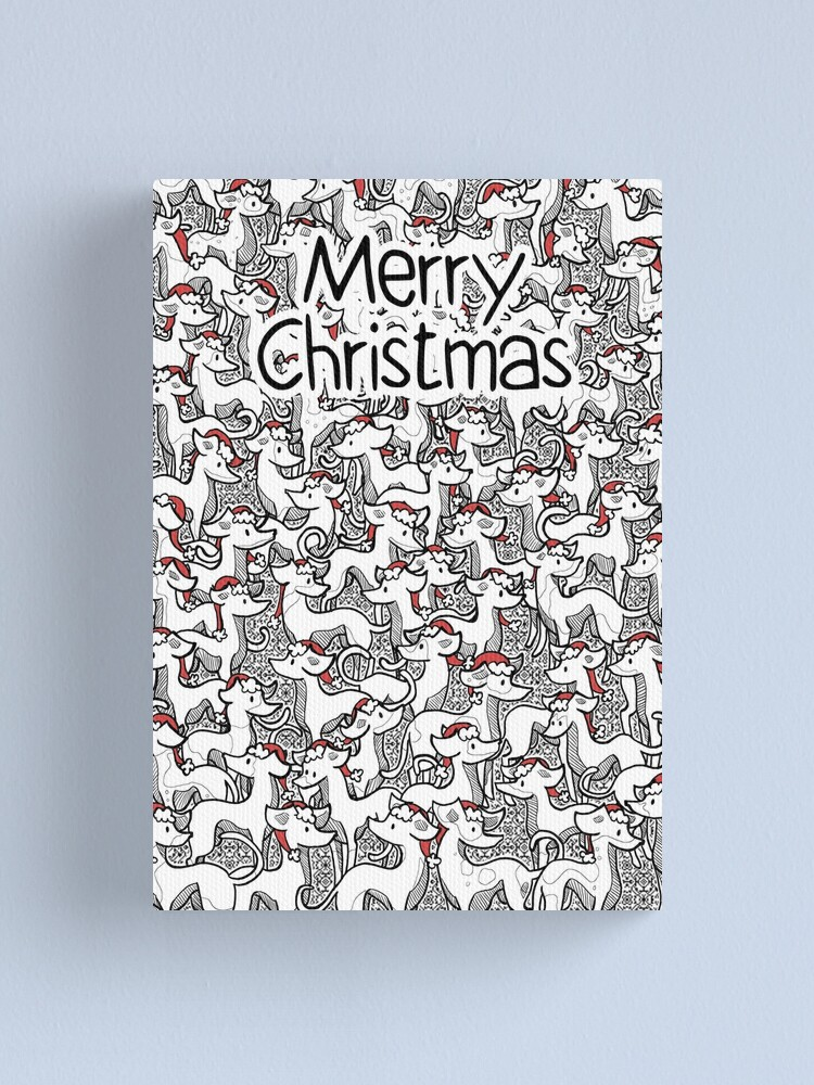 Alternate view of Merry Christmas Hounds in Hats Canvas Print