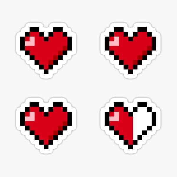 Pixel Heart Stickers 4x Sticker