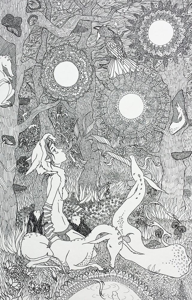 Original Ink Drawing (Midnight Musings) by Christina Martine