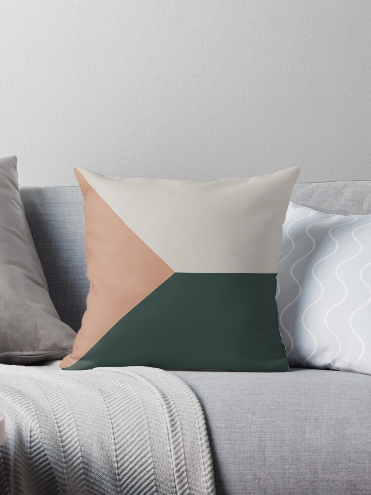 Green Nude Pink And Grey Scandinavian Geometric Minimalist Throw Pillow By Koovox Redbubble