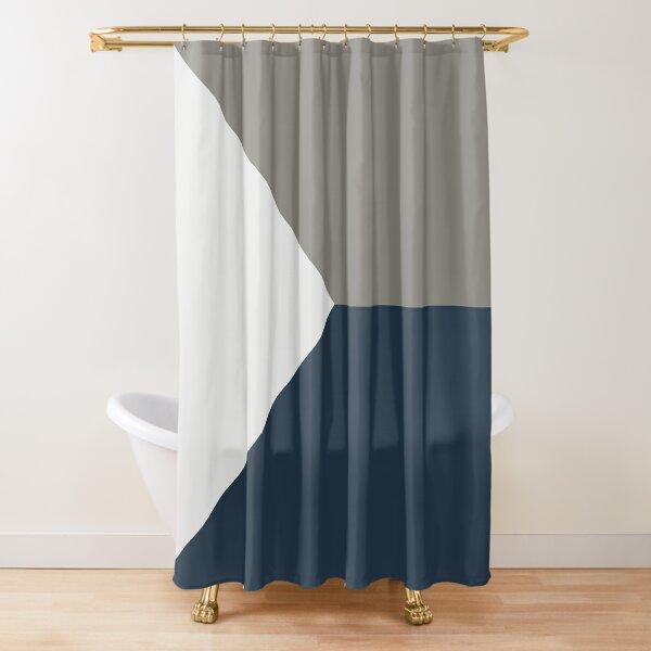 Navy White and Grey Scandinavian Geometric Minimalist Shower Curtain