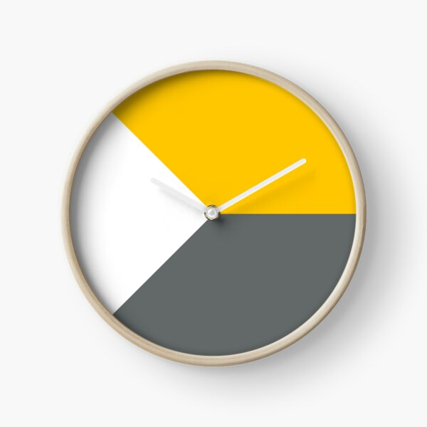 Yellow white and Grey Scandinavian Geometric Minimalist  Clock