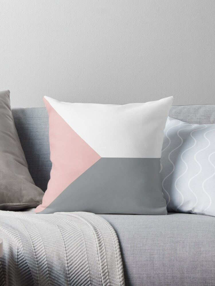 Pink And Grey Scandinavian Geometric Minimalist Throw Pillow By Koovox Redbubble