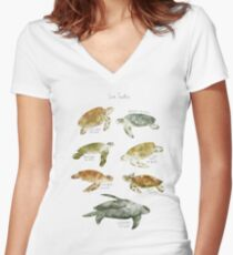 Camiseta entallada de cuello en V Tortugas de mar