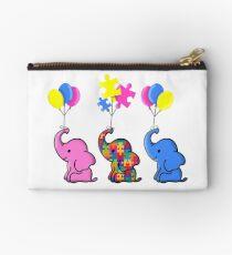 Autism Awareness Sticker Blue Elephant Zipper Pouch
