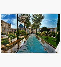 The Amazing Abbasi Hotel - Courtyard Fountains - Esfahan - Iran Poster