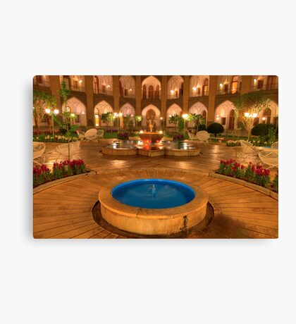 The Amazing Abbasi Hotel - Blue & Gold Courtyard Fountains - Esfahan - Iran Canvas Print