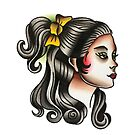 Traditional Ponytail Girl Tattoo Design by FOREVER TRUE TATTOO