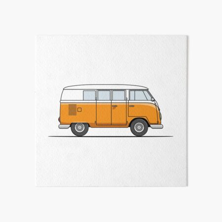 VW Campervan inspired art prints picture gift signed Snow Bus Skiing