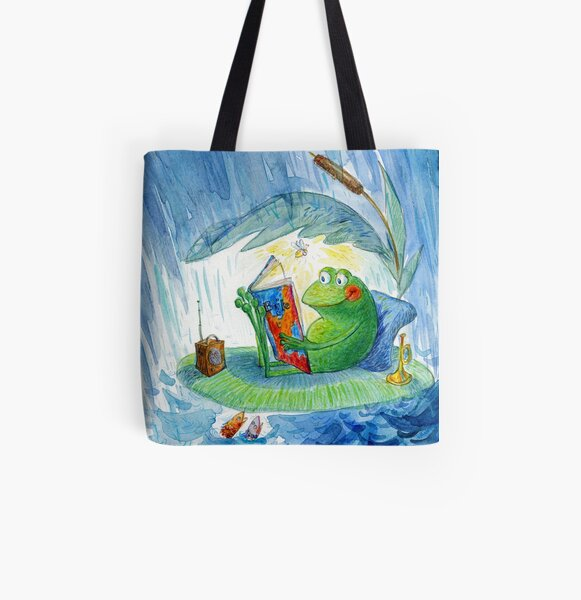 A frog reading on a rainy day All Over Print Tote Bag