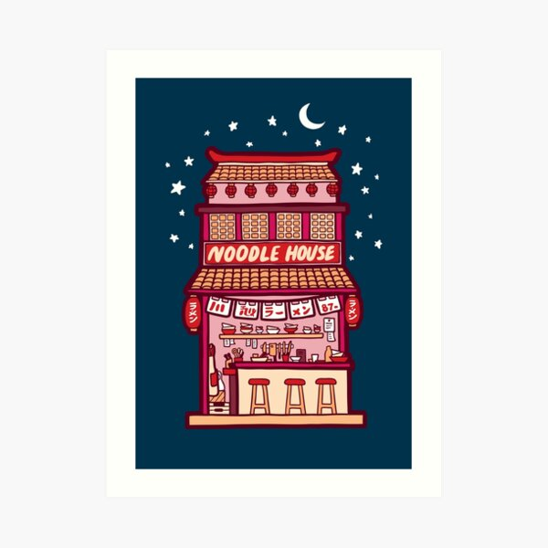 Noodle House at Night Art Print