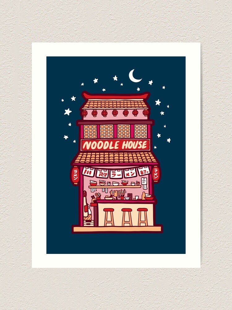 Alternate view of Noodle House at Night Art Print
