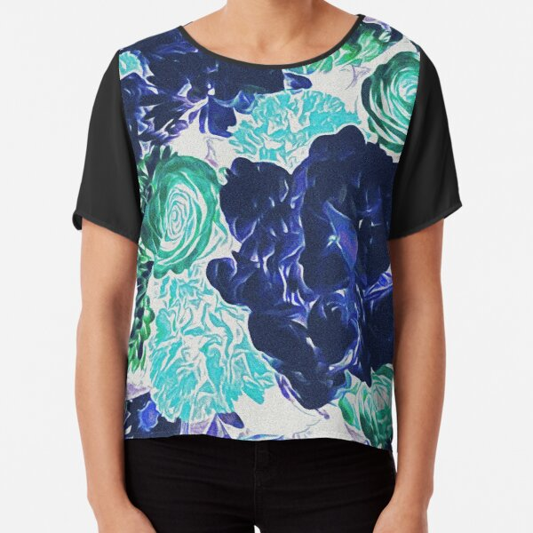 Bouquet in Blue - Floral Art - Flower Lovers Gift Chiffon Top