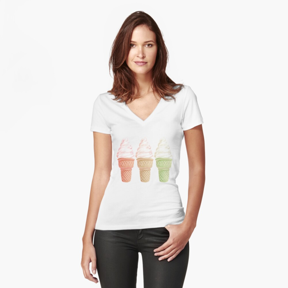 Happinesses II Fitted V-Neck T-Shirt
