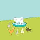 My Pool - Great Pyrenees Versus the Birds by caroleighdeneen
