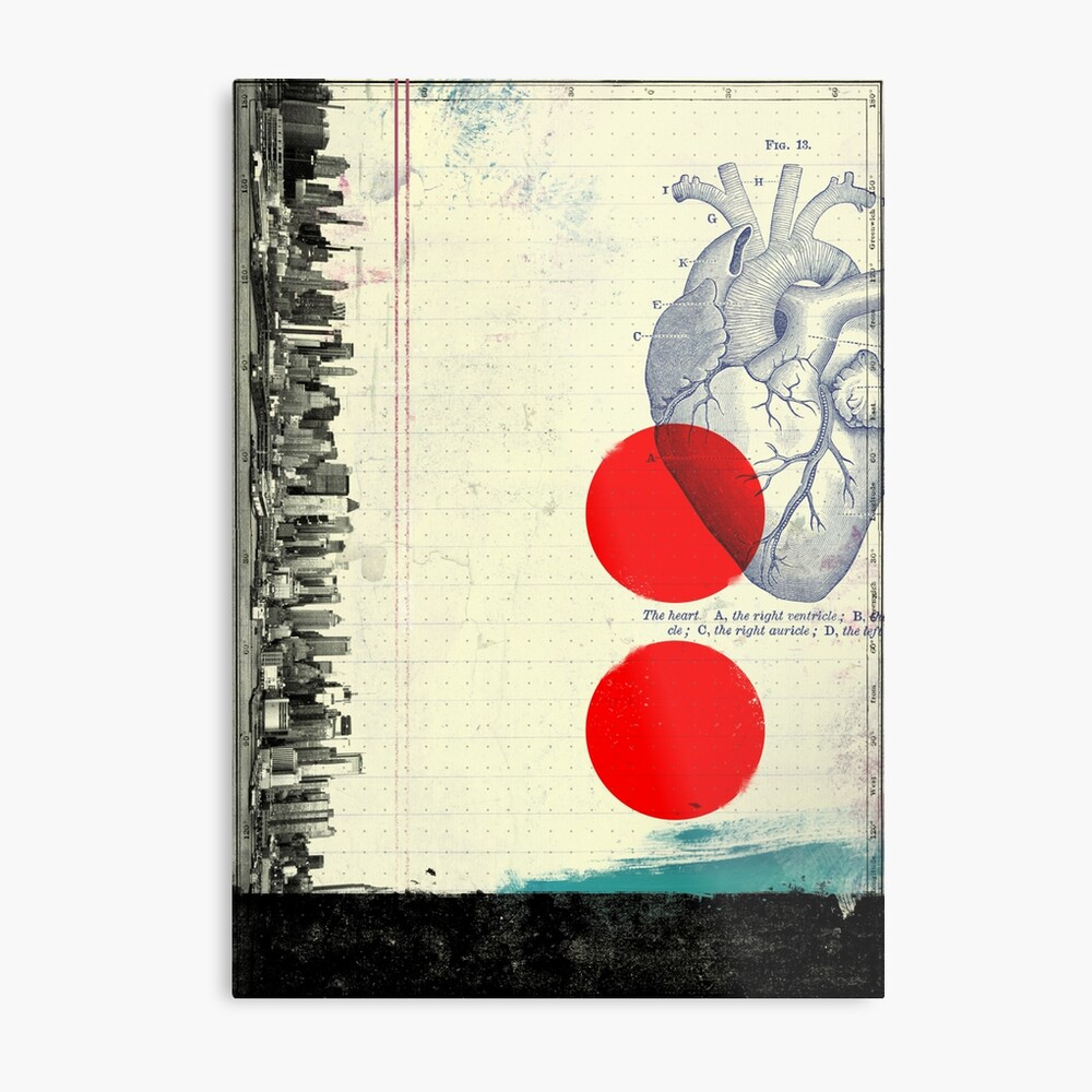 Heart 01 - Modern Abstract Collage Metal Print