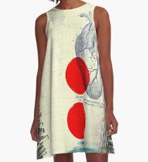 Herz 01 - moderne abstrakte Collage A-Linien Kleid