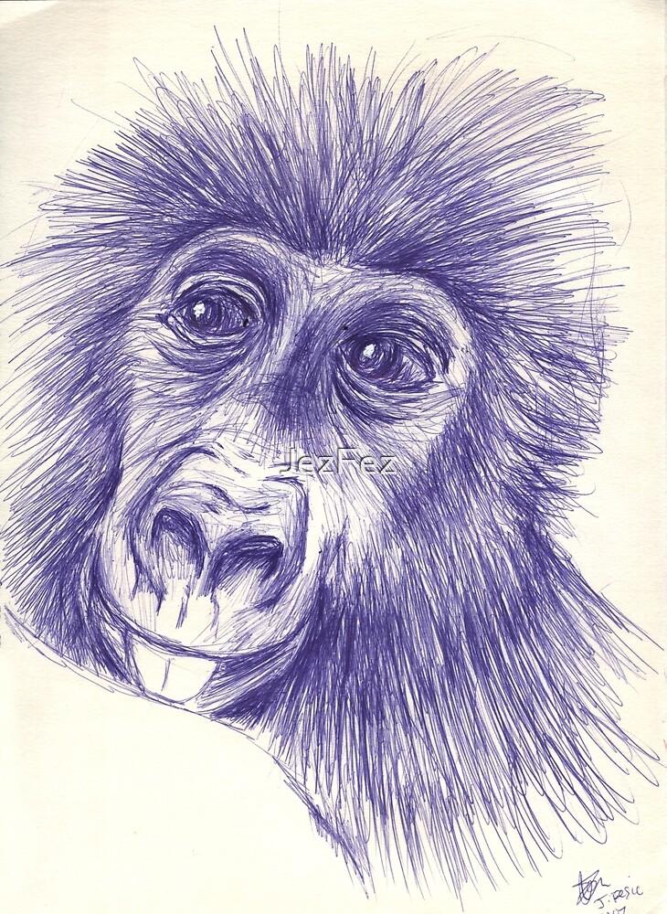 Baby Gorilla drawn with Pen by JezFez