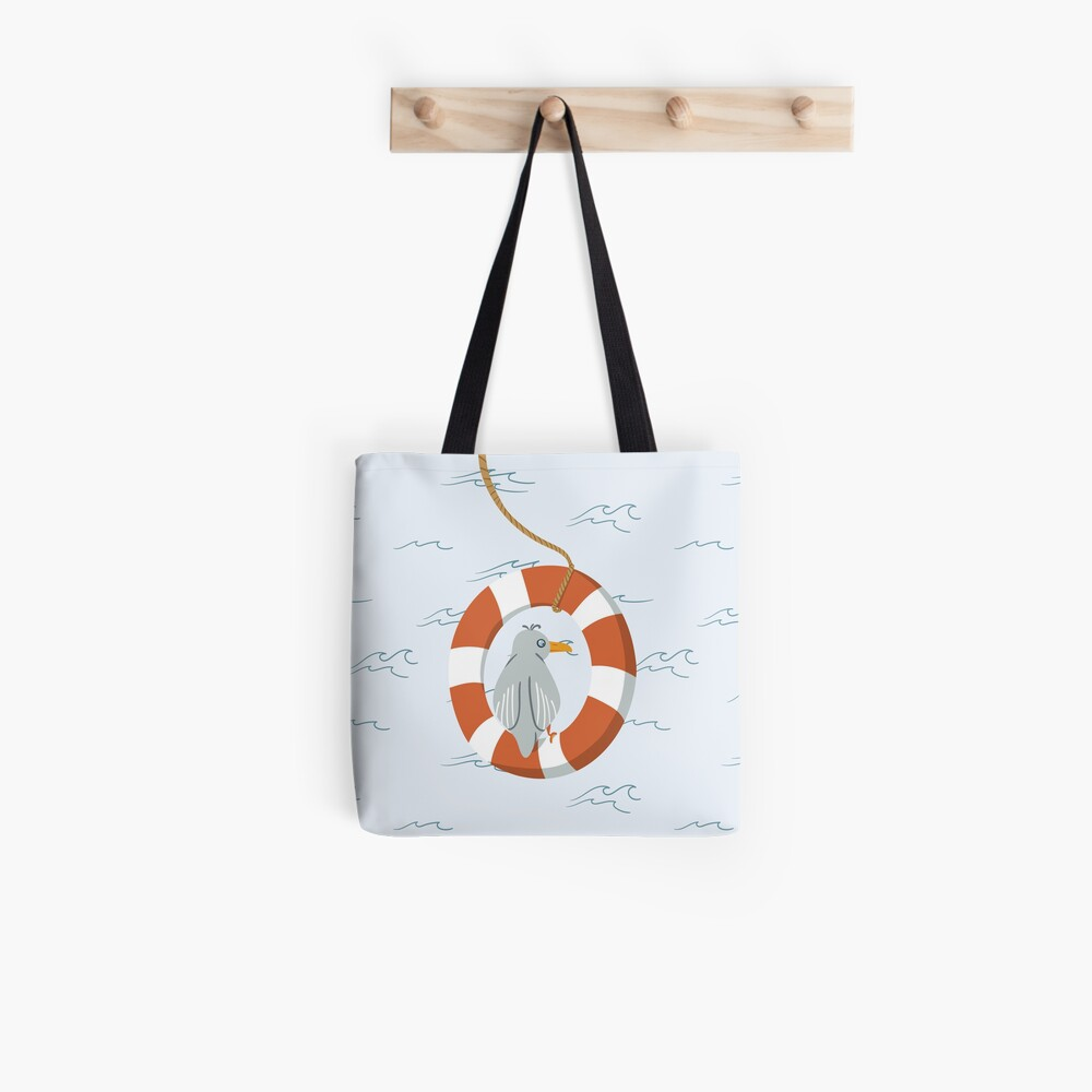 Funny seagull chilling in life buoy Tote Bag