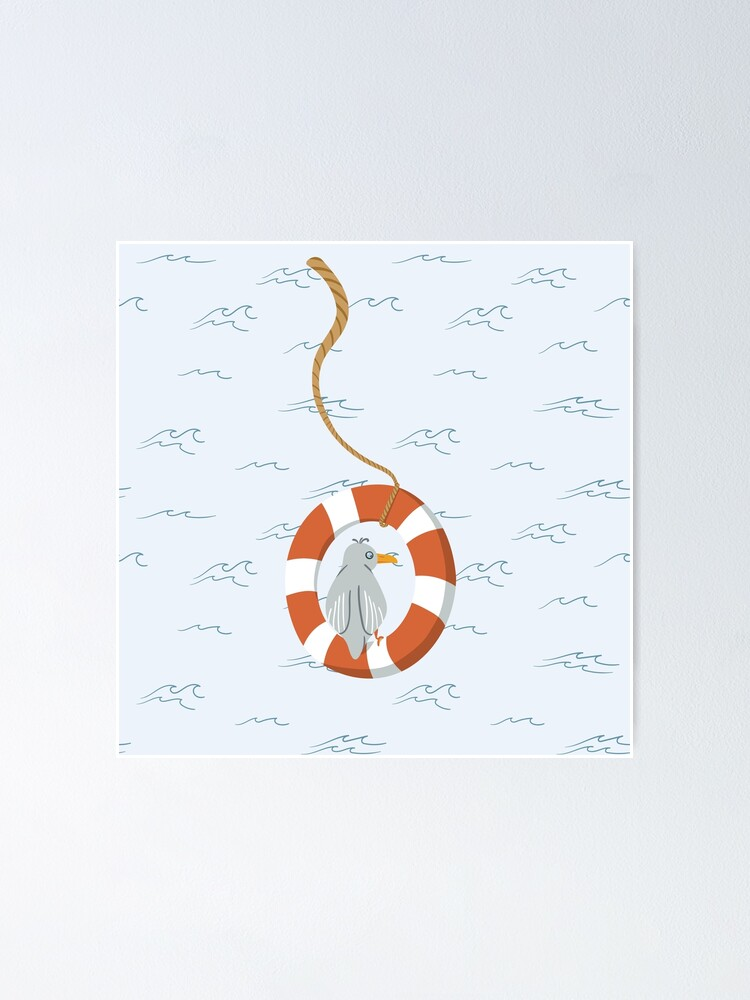 Alternate view of Funny seagull chilling in life buoy Poster