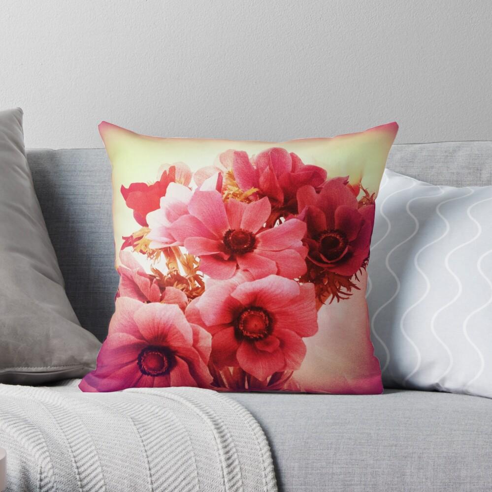 Pink Velvet Floral Art - Pink Flower Design  Throw Pillow