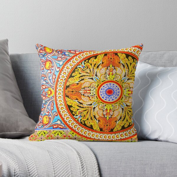 Buddhist Temple Painting Throw Pillow