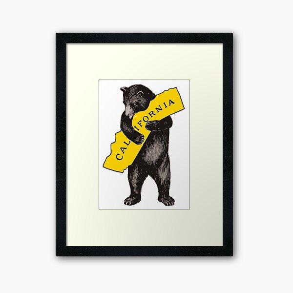 Weinlese-Kalifornien-Bär Hug Illustration Gerahmter Kunstdruck