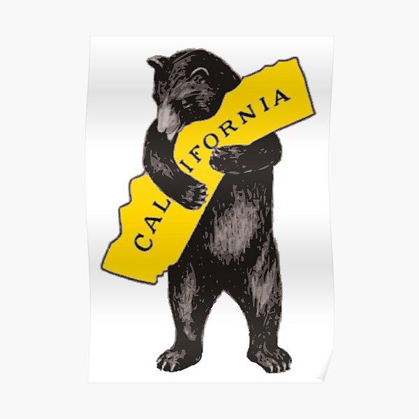 Vintage California Bear Hug Illustration Poster