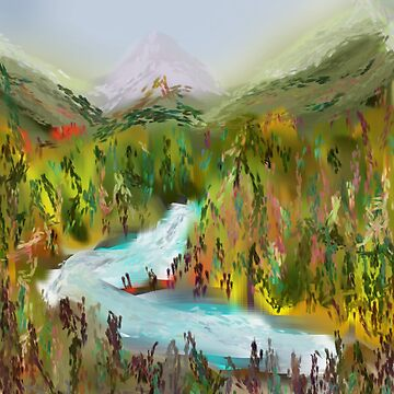 Impressionist Forest Mountain River Landscape by LouisianaLady