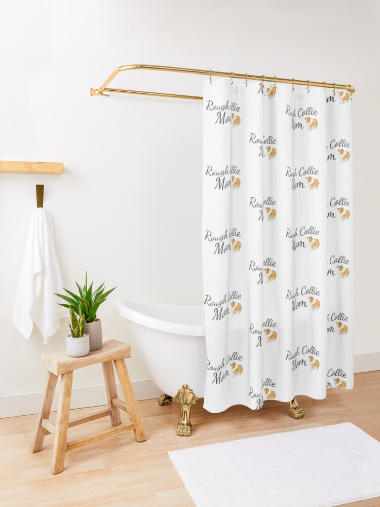 Alternate view of Rough Collie Mom Shower Curtain